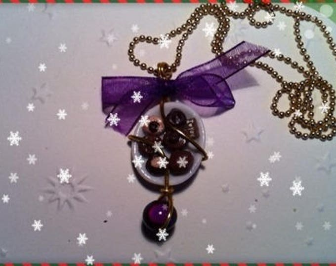 Chocolate Christmas ref 126 plate pendant necklace