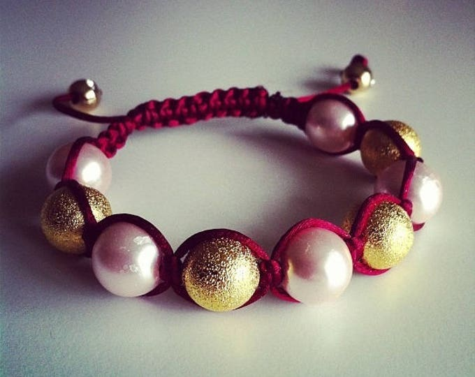 Adjustable Shamballa bracelet Burgundy and gold rose #57