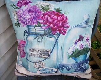 Aqua Blue Farmhouse Style Pillow Cover 18 x 18, Honey Bee Jar Cloche Flowers Design Vintage  Style Home Decor Aqua Blue, French Farmhouse