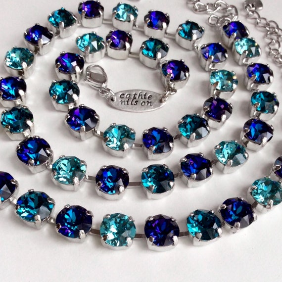 "Swarovski Crystal 8.5mm Necklace  ""Evening Sky""  Gorgeous Heliotrope With Teal & Turquoise Accents   Designer Inspired - FREE SHIPPING"