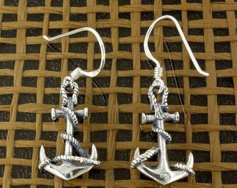 ON SALE Sterling Silver Sailor Anchor Earrings Symbol of Safety