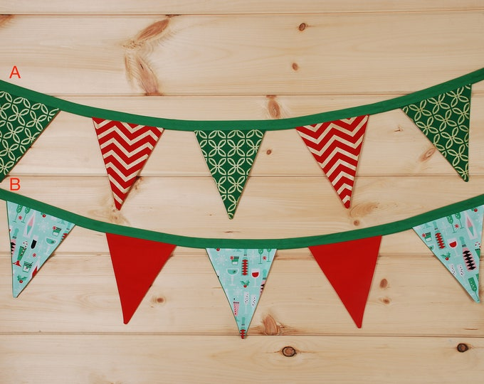 Featured listing image: Holiday Fabric Pennant Bunting
