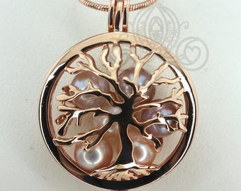 Family Tree Pearl Cage Necklace Rose Gold Plated Locket Charm Tree of Life Mother Bead Cage