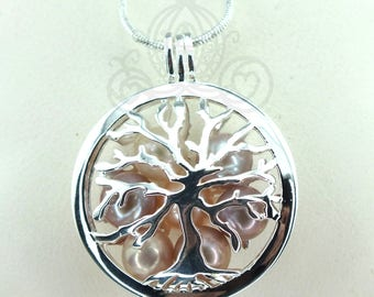 Family Tree Pearl Cage Necklace Bright Silver Plated Locket Charm Tree of Life Mother Bead Cage