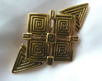 Vintage large gold tone art deco style brooch pin