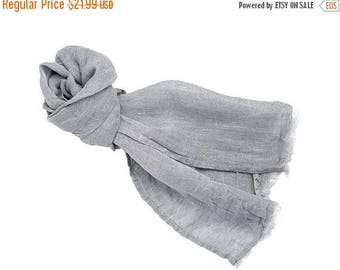 15%SALE Linen gray scarf, linen scarve, natural scarf, man women scarf, spring accessory