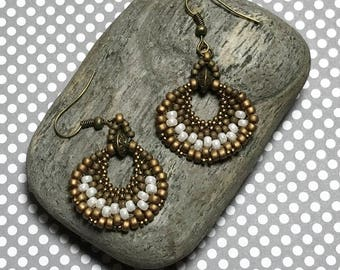 Brass White Earrings Steampunk Earrings Brass Bead Earrings Brass Fan Earrings Beadwork Earrings Woven Drop Earrings Beadwoven Earrings