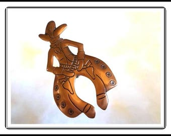 Copper Cowboy Pin - Country Western Style - Southwestern Cowboy Brooch - Vintage 1960's 1970's Jewelry - Pin-2002a-091414005