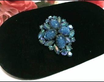 Shades of Blue Rhinestone Vintage Brooch   Pin-1078a-072417000