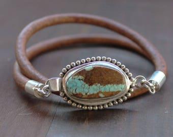 Mens Turquoise Bracelet, sterling silver Leather mens jewelry bracelet, mens anniversary gift, mens bracelet boyfriend gift,