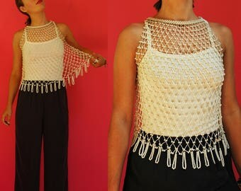 1970s Pearly Bead Sheer Macrame Net Top with Beaded Fringe