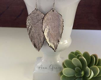 Metallic leather feather earrings // rustic silver metallic leather feather earrings // boho earrings // feather earrings // silver feather
