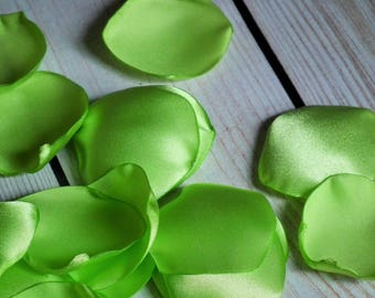 LIME satin rose petals - for wedding flower basket, aisle, anniversary, or date night, green flower petals, ready to ship