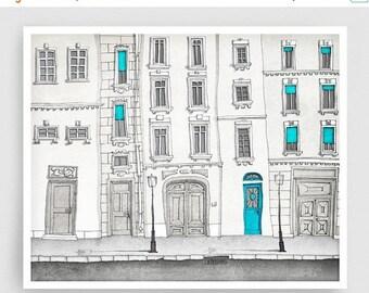 30% OFF SALE: The magic door - Paris illustration Art Illustration Print Poster Paris decor Art Print Home decor Kids wall art Paris facade
