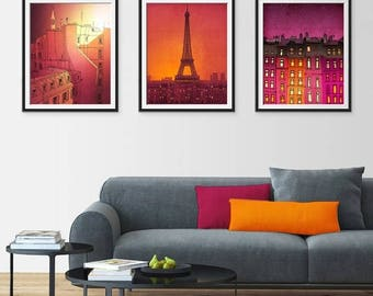 30% OFF SALE: Any THREE Prints - Save 25 Percent,Set of three Illustrations,Paris Art Print Poster Home decor Mixed media Nursery decor Kids