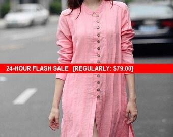 Flash Sale Pink Shirt, Pink Tshirt, Linen Shirt Dress, Longsleeve Linen Tshirt, Linen Kaftan, Pink Dress, Long Shirt, Pink Linen Blouse