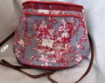faux leather snake and toile handbag