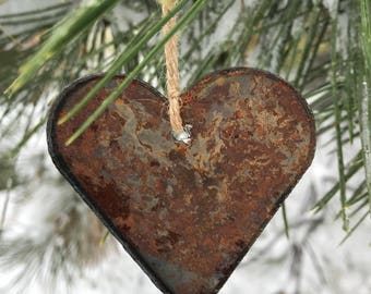 """Single or Set of 3...Rusty Metal HEART Ornament(s)- Rustic - 4"""" tall"""