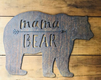"Mama Bear - 6"" Rusty Metal MAMA BEAR - For Art, Sign, Decor - Make your own DIY Gift!"