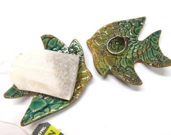 Angelfish Pottery Teabag Holder Fish Ceramic Teaspoon Rest Ceramic Ring Dish Pottery Ring Dish Angelfish Teabag Rest Coworker Gift in Green