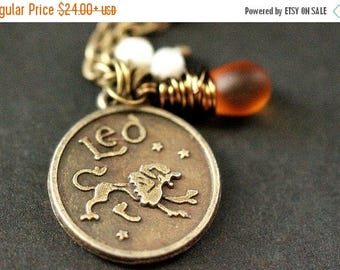SUMMER SALE Leo Necklace. Zodiac Necklace. Sun Sign Charm Necklace with Glass Teardrop and Pearls. Handmade Jewelry.