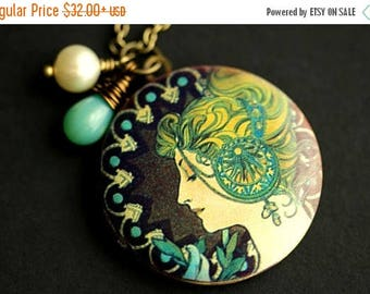 VALENTINE SALE Alfonse Mucha Locket Necklace. Mucha's Feather Art Nouveau Necklace with Glass Teardrop and Fresh Water Pearl. Handmade Jewel