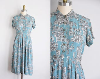 40s Little Treasures dress / vintage 1940s novelty dress/ Toni Karen rayon daydress