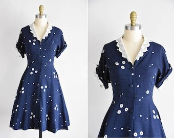 1950s Miss Sunday dress/ vintage 50s sundress / polka dot daydress