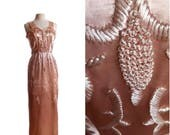 Vintage 50s pink embroidered silk gown/ 1950s long formal dress/ dusty rose gold/ velvet straps/ heavy embroidery/ glam cocktail dress/