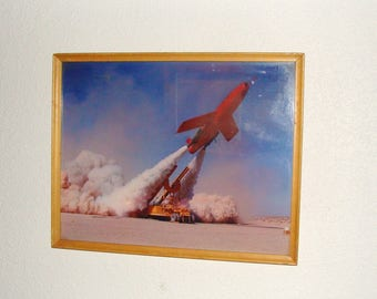 1950's Framed Color Photo Regulus Missile Launch, From Estate of USAF General Charles Terhune