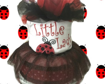 Little Lady Bug- 2 Tier Baby Shower Black and Red Diaper Cake