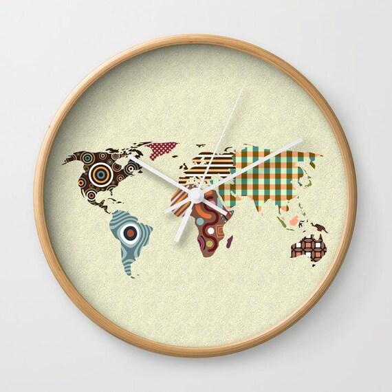 World Map Decor Clock, World Map Clock, Travel Clock Decor, Cute Wall Clock, Wall Clock World Map, Clock Art Decor, Clock Gift