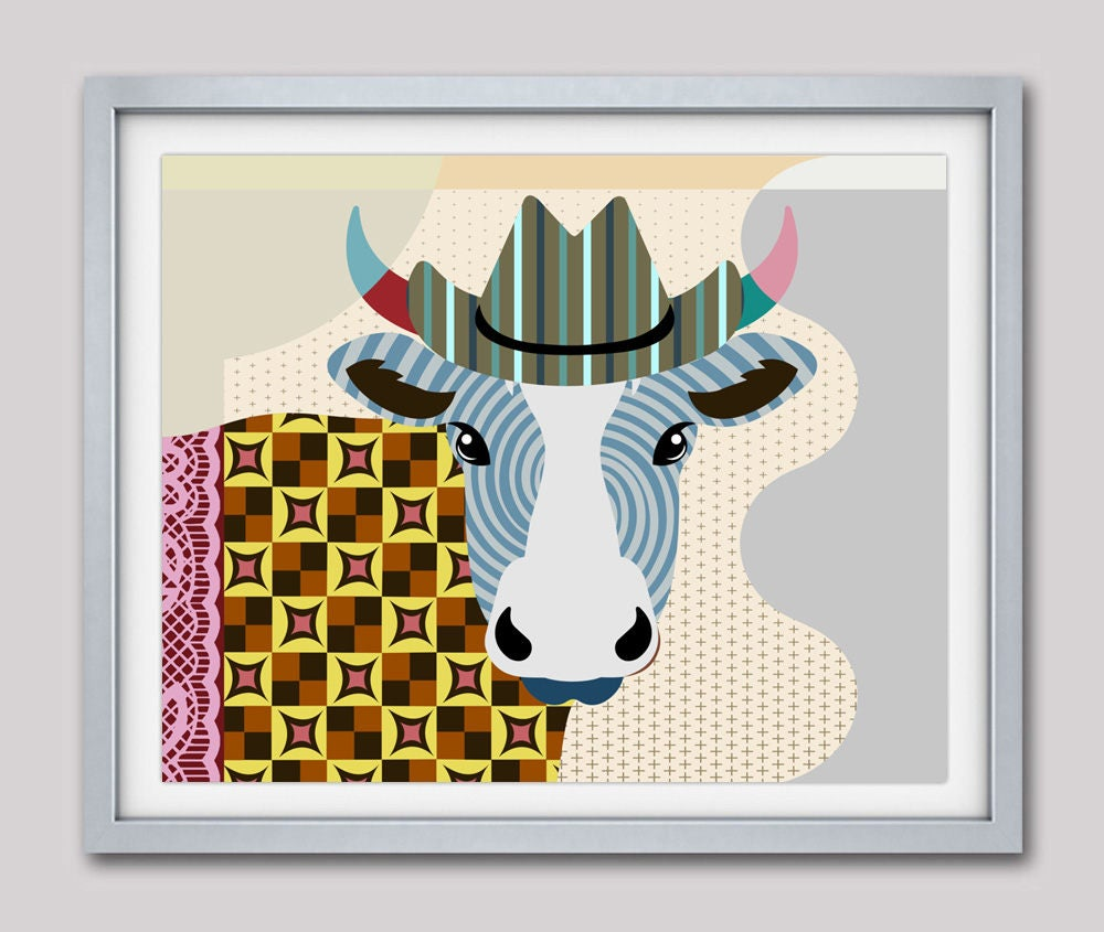 Cow Print Cow Art Cow Decor Cow Pop Art Cow Poster Cow Painting Abstract Cow Gifts Cow