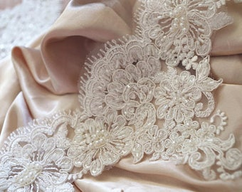 heavy beaded lace trim, ivory bead alencon lace trim, beading lace, bead cord lace trim, bridal lace trim for veil, bead lace by the yard