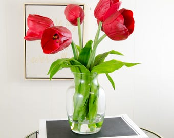 Real Touch Red Tulip Glass Vase Faux Artificial Arrangement for Home Decor