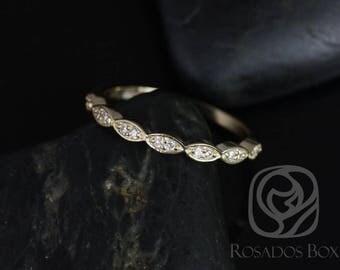 Rosados Box Ready to Ship Yellow Gold Matching Band to Christie/Katya/Sunny/Samantha WITHOUT Milgrain Diamond Leaves HALFWAY Eternity Band