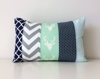 Navy, White, Mint Green, Grey, Lumbar Pillow Cover, Modern Decor, Patchwork, 12x18, Mixed Patterns, Gender Neutral Nursery, Woodland