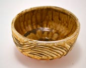 Japanese Tea Bowl (matcha chawan)/soda-fired /rice bowl/special sauce bowl/amber wave pattern with white slip /