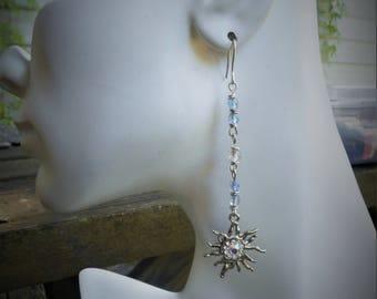Sun earrings, star earrings, blue jewelry, long earring, crystal earrings,silver sun earrings, giftfor her, birthday gift, aurora earrings