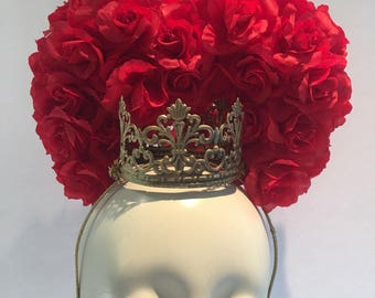 Queen of Hearts crown - Birthday Crown- Halloween Costume -Princess- Queen headdress- Renaissance Queen- Queen of hearts crown.