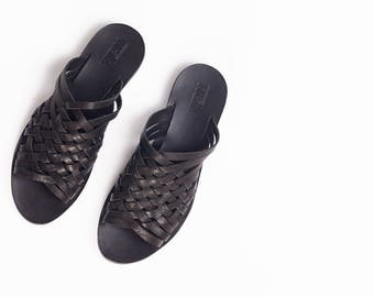 woven slides in black' Criss Cross Slides In Black