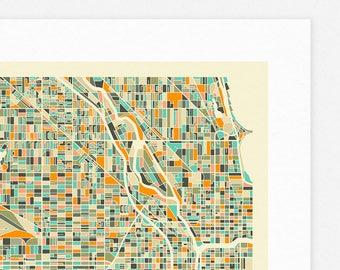 CHICAGO MAP (Giclée Fine Art Print/Photographic Print/Poster Print) by Jazzberry Blue (color version) (Ver.1)