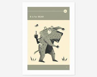 B is for BEAR (Giclée Fine Art Print/Photo Print/Poster Print) by Jazzberry Blue
