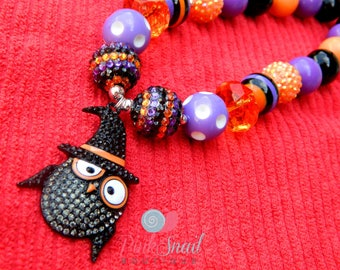 Halloween Witch Owl Black & Purple Girls Chunky Necklace *Ready to ship* 18""