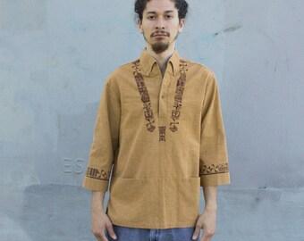 Tan 3 quarter Length Hippy Shirt