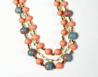 multi strand coral Swarovski crystal pearl blue jasper gemstone necklace multistrand beaded necklace gemstone jewelry triple strand necklace