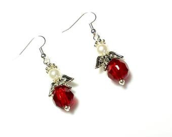 red glass beads guardian angel earrings with white Swarovski pearls hypoallergenic earrings nickel free earrings dangle drop beaded earrings
