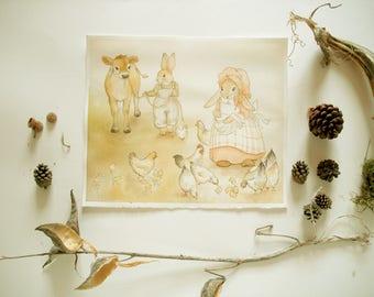 Original Painting: Farmer O'Hare & Bonnie Bunny - The Morning Chores - watercolor, illustration, children's art, nursery, rabbit, cute sweet