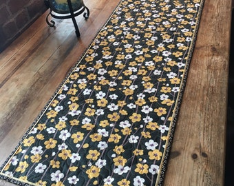 Japanese Floral Table Runner in Black, Gold and Creams