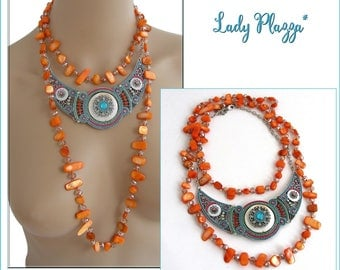 Multicolor bib necklace and Orange necklace - ceramic, Crystal beads, mother of Pearl